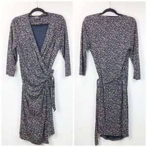 Ann Taylor Neutral Print Wrap Dress